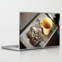 cigarettes Laptop & iPad Skins featuring Coffee & cigarettes by Clara Blum