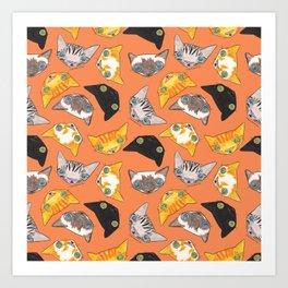"""""""Oro?"""" Cats-Salmon Color Art Print"""