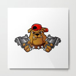 gangster bulldog  with pistols Metal Print