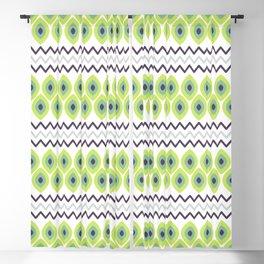 Abstract avocado green black geometric zigzag stripes pattern Blackout Curtain
