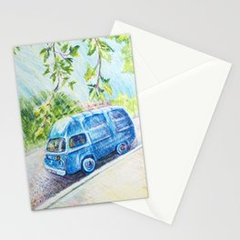 Summer landscape with a mini bus sketch colored pencils Stationery Cards