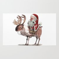 bouletcorp Area & Throw Rugs featuring Père Noël Énervé / Angry Santa by Bouletcorp