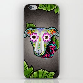 Greyhound - Whippet - Day of the Dead Sugar Skull Dog iPhone Skin