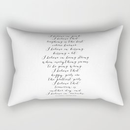 I Believe In Pink. I Believe That Laughing Is the Best Calorie Burner… -Audrey Hepburn Script Rectangular Pillow