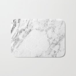 White marble hexagonal beehive Bath Mat