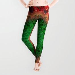 Red and bright green mandala Leggings