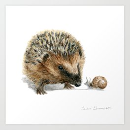 """Close Encounter"" painting of a Hedgehog and Snail by Teresa Thompson Art Print"