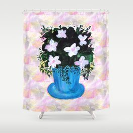 Blue Vase with Foliage and White Flowers Shower Curtain