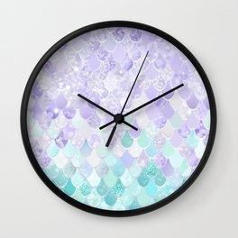 Cute, Mermaid Art, Purple and Teal Pattern Wall Clock