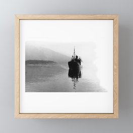 Fjord ship Framed Mini Art Print