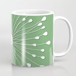 stylized dandelion burst on Shamrock green Coffee Mug