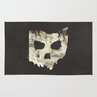 ohio state Area & Throw Rugs featuring Ohio Skull by Will Ruocco