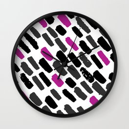 Oblique dots black and white hot pink Wall Clock