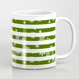 Green Candy Cane Winter Snowflakes Coffee Mug