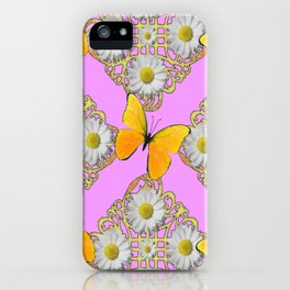 GOLDEN BUTTERFLIES DAISY FLOWERS PINK PATTERNS iPhone Case