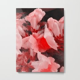 Red and Pink Snapdragons Floral Abstract Metal Print