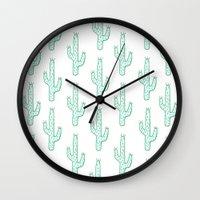 cactus Wall Clocks featuring Cactus by Emma Winton