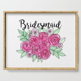 Bridesmaid Wedding Pink Roses Watercolor Serving Tray