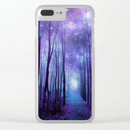 Fantasy Forest Path Icy Violet Blue Clear iPhone Case