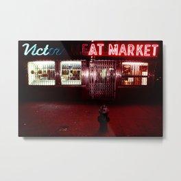 Night Lights Victors Meat Market, NYC Metal Print