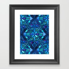 Deep Ocean Art Nouveau Watercolor Doodle Framed Art Print