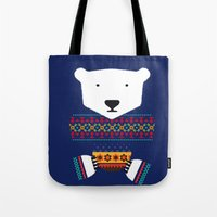 polar bear Tote Bags featuring Polar Bear by Marco Recuero