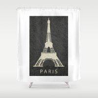 paris Shower Curtains featuring Paris by NJ-Illustrations