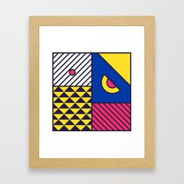 Festive Background in Neo Memphis Style Colorful Decorative pattern Framed Art Print