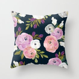 Midnight Florals - Pink & Purple Throw Pillow