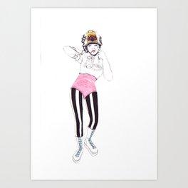 Jeune fille au casque Art Print