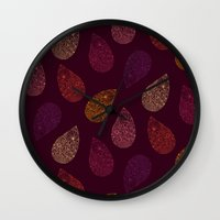 paisley Wall Clocks featuring Paisley by Vlada Young