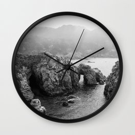 Ocean Arches | Black and White Nature Landscape Photography in California Wall Clock