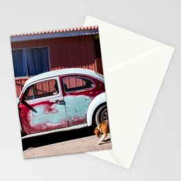 A puppy and a car Stationery Cards