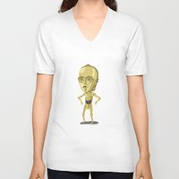 c3po V-neck T-shirts featuring C3PO by Rod Perich