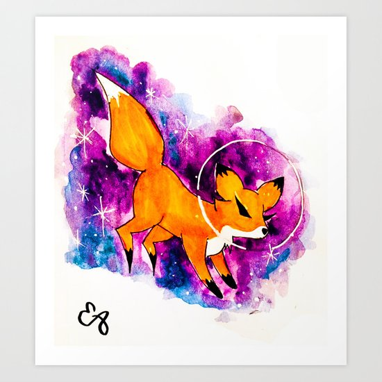 Fox in Space Ver. 5 Art Print