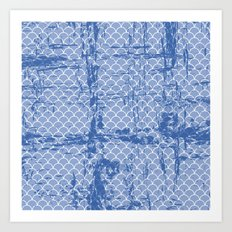 Abstract texture on small scalllops in serenity blue Art Print