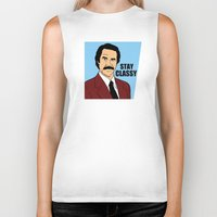 will ferrell Biker Tanks featuring Stay Classy - Ron Burgundy by Buby87