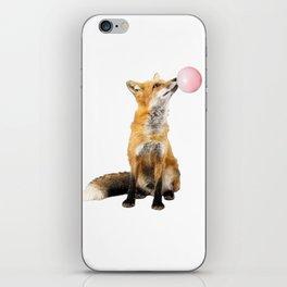 Fox Blowing Bubble Gum - Digital Image iPhone Skin