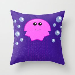 Smiling Jellyfish Throw Pillow
