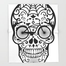 Vintage Mexican Skull with Bicycle - black and white Throw Blanket