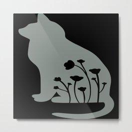 Sitting Cat and Simple Flowers Eps Metal Print