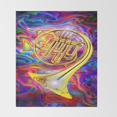 Psychedelic French horn Throw Blanket