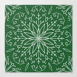 Single Snowflake - green Canvas Print