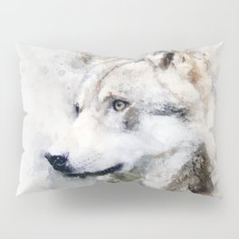 Watercolour grey wolf portrait Pillow Sham
