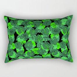 Big Monstera Tropical Leaf Hawaii Rain Forest Black and Green Rectangular Pillow