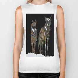 Two wolves in the snow Biker Tank