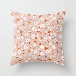 Daisies Pattern - Orange Peach Throw Pillow
