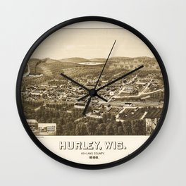 Aerial View of Hurley, Wisconsin (1886) Wall Clock