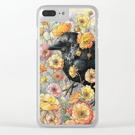 Just a noisy trash-eater (crow adorned with flowers) Clear iPhone Case