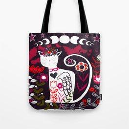 Cat and Moon Folk Art Design Tote Bag